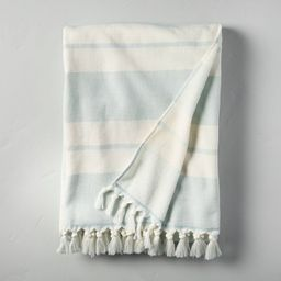 Double Stripes Cotton Beach Towel Light Blue/Sour Cream - Hearth & Hand™ with Magnolia   Target