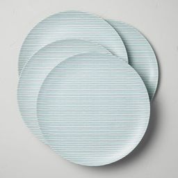Bamboo Melamine Ticking Stripes Dinner Plate Teal - Hearth & Hand™ with Magnolia   Target