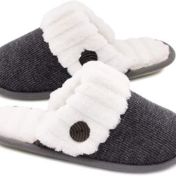 HomeTop Women's Cute Comfy Fuzzy Knitted Memory Foam Slip On House Slippers Indoor   Amazon (US)