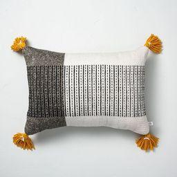 "14"" x 20"" Center Stripes Colorblock Indoor/Outdoor Throw Pillow Black/Yellow - Hearth &#3...   Target"