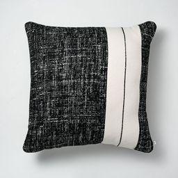 "24"" x 24"" Single Stripe Colorblock Indoor/Outdoor Throw Pillow Black/Cream - Hearth &...   Target"