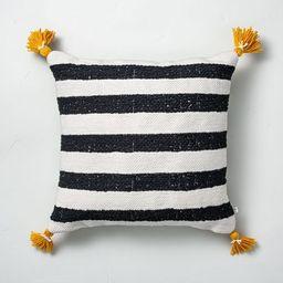"18"" x 18"" Cabana Stripes Indoor/Outdoor Throw Pillow Black/Yellow - Hearth & Hand&#84...   Target"