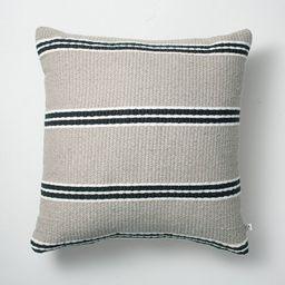 """18"""" x 18"""" Double Stripe Indoor/Outdoor Throw Pillow Black/Gray - Hearth & Hand™...   Target"""