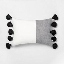 """14"""" x 20"""" Textured Colorblock Lumbar Pillow - Hearth & Hand™ with Magnolia   Target"""