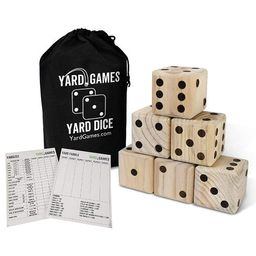 Yard Games 3.5 Inch Giant Outdoor Indoor Hand Sanded Wooden Dice Set with Laminated Scorecards an...   Target