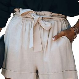 Sidefeel Women Casual Tie High Waist Solid Color Summer Shorts with Pockets   Amazon (US)