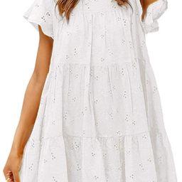 Amegoya Women's Casual Cotton Embroidery Dress Babydoll A-line Mini Dress with Belt | Amazon (US)