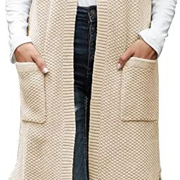 Viottiset Women's Open-Front Knitted Long Cardigan Sweater Vest Outwear Coat   Amazon (US)