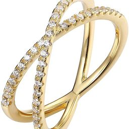 PAVOI 14K Gold Plated X Ring Simulated Diamond CZ Criss Cross Ring for Women | Amazon (US)