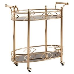 Annie Vintage Metal and Glass Bar Cart Rose Gold - Inspire Q   Target