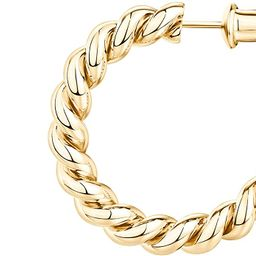 PAVOI 14K Gold Plated 925 Sterling Silver Twisted Rope Round Hoop Earrings in Rose Gold, White Go... | Amazon (US)