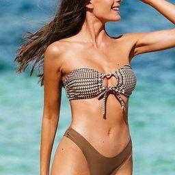 Lina Houndstooth Bandeau Bikini | Cupshe
