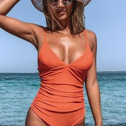 Bright Day Shirring One Piece Swimsuit | Cupshe