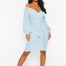 Womens Petite Off The Shoulder Wrap Midi Dress - Blue - 8   Boohoo.com (US & CA)