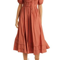 Ulla Johnson Palma Puff Sleeve Cotton A-Line Dress | Nordstrom | Nordstrom