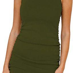 BTFBM Women Sleeveless Bodycon Ruched Short Dress Side Drawstring Solid Crew Neck Casual Summer T...   Amazon (US)