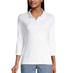 Women's Supima Cotton 3/4 Sleeve Polo Shirt | Lands' End (US)