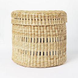 "11"" x 9"" Oval Decorative Lidded Open Weave Basket Natural - Threshold™ designed with Studio McG...   Target"