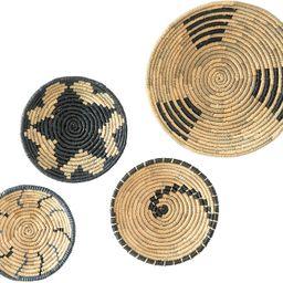 Artera Wicker Wall Basket Decor - Hanging Woven Seagrass Flat Baskets, Round Boho Wall Basket Dec... | Amazon (US)