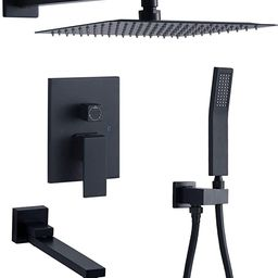 DoBrass Black Shower Faucets Set Complete with Pre-embedded Valve, 10-inch Square Rainfall Shower... | Amazon (US)