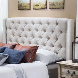 Noble House Ashley Full/Queen Wingback Tufted Beige Fabric Headboard | Walmart (US)