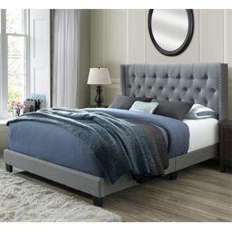 DG Casa Bardy Diamond Tufted Upholstered Wingback Headboard with Nailhead Trim Panel Bed Frame, Q... | Walmart (US)