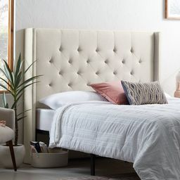 Rest Haven Linen-Inspired Diamond Tufted Wingback Upholstered Headboard - Queen, Cream | Walmart (US)