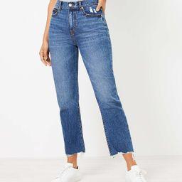 Distressed Hem High Rise Straight Crop Jeans in Authentic Dark Indigo Wash | LOFT