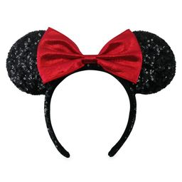 Minnie Mouse Sequined Ear Headband with Velvet Bow – Black and Red | shopDisney