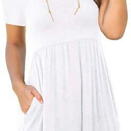 LONGYUAN Women's Summer Short Sleeve Casual Dresses Elastic Loose Comfy Swing Sundress with Pocke... | Amazon (US)