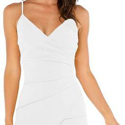 Verdusa Women's Sexy Ruched Side Asymmetrical V Neck Bodycon Cami Dress | Amazon (US)