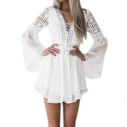 Lace Dresses for Women Boho Dress Crochet High Waisted Solid Color Elegent Ruffle Short Dress | Amazon (US)