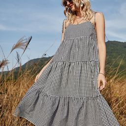 Gingham Tie Shoulder Ruffle Hem Cami Dress | SHEIN