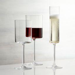 Edge Square Wine Glasses   Crate and Barrel   Crate & Barrel