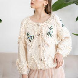 Floral Stitch Zig Zag Pom-Pom Hand Knit Cardigan | Chicwish