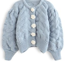 Flowers Button Down Embossed Bubble Sleeves Cardigan in Blue | Chicwish