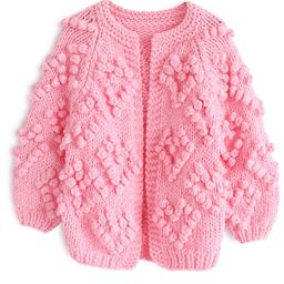 Knit Your Love Cardigan in Hot Pink For Kids | Chicwish