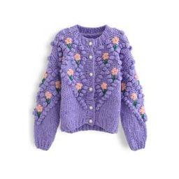 Stitch Floral Diamond Pom-Pom Hand Knit Cardigan in Purple | Chicwish