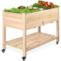 VEIKOUS 30 in. x 47.5 in. x 23.5 in. Raised Garden Bed Mobile Elevated Wood Planter with Lockable...   The Home Depot