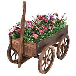 Costway Brown Wood Wagon Flower Outdoor Wood Plant Stand Pot Stand with Wheels-OP3045 - The Home ...   The Home Depot