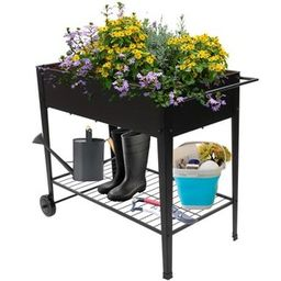 Winado 38 in. Black Iron Planter Cart-193947085282 - The Home Depot   The Home Depot