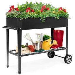 Best Choice Products Mobile Raised Ergonomic Metal Planter Garden Bed w/Wheels, Lower Shelf, 38x1...   Target