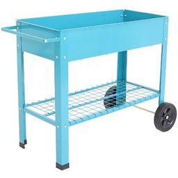 """43"""" Raised Garden Bed Cart with Wheels - Blue Galvanized Steel - Sunnydaze Decor   Target"""