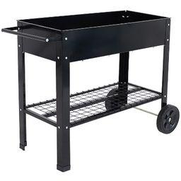 """43"""" Raised Garden Bed Cart with Wheels - Black Galvanized Steel - Sunnydaze Decor   Target"""
