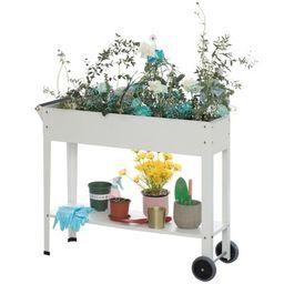 Gardenised Mobile Planter Raised Garden Bed Rectangular Flower Cart with Shelf   Target