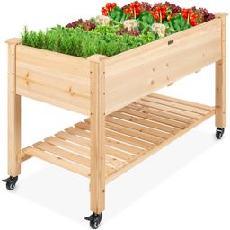 Mobile Raised Garden Bed Elevated Wood Planter w/ Wheels, Storage Shelf   Best Choice Products
