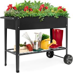 Best Choice Products Elevated Metal Garden Bed for Backyard w/ Wheels, Shelf   Best Choice Products