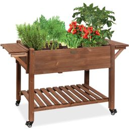Pre-Stained Mobile Raised Garden Bed Elevated Wood Planter Stand 57x20x33in   Best Choice Products
