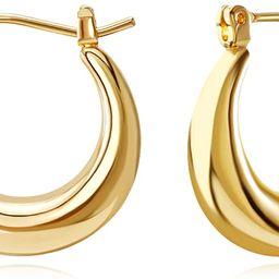 FAMARINE 14K Gold Plated Chunky Small Hoop Earrings, Dainty Minimalist Open Hoops Earrings For Wo... | Amazon (US)