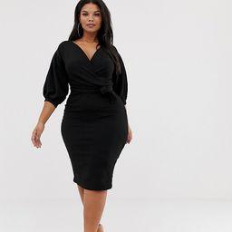 Boohoo Plus off the shoulder wrap dress in black   ASOS (Global)